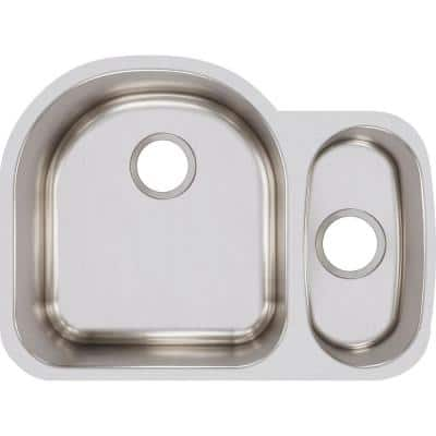 Lustertone Undermount Stainless Steel 27 in. Double Bowl Kitchen Sink