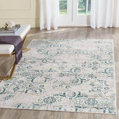 Artifact Blue/Cream 5 ft. x 8 ft. Floral Area Rug