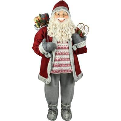 5 ft. Christmas Standing Santa Claus Holding Snowshoes and Wearing a Nordic Sweater