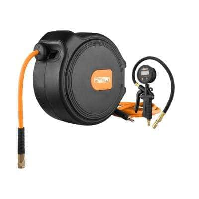 Digital Tire Inflator with LCD Gauge and 65 ft. Compact Air Hose Reel with 1/4 in. Hybrid Air Hose and Swivel Wall Mount