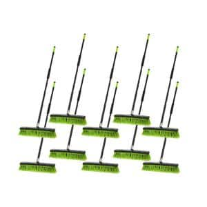 18 in. Green Multi-Surface 2-in-1 Squeegee Push Broom (10-Pack)