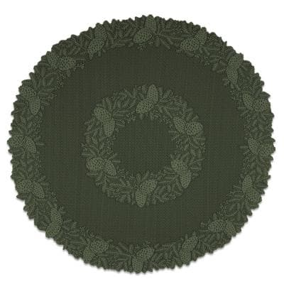 Highland Pine 42 in. W x 42 in. L Aspen Green Floral Polyester Round Table Topper
