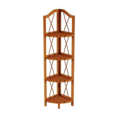 43 in. Pecan Brown Wood 4-Shelf Corner Bookcase