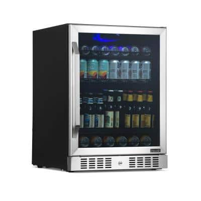 24 in. 177 Can Capacity Built-in or Freestanding Beverage Refrigerator and Cooler