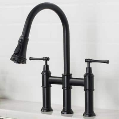 Allyn Transitional 2-Handle Bridge Kitchen Faucet with Pull-Down Sprayhead in Matte Black