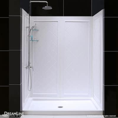 SlimLine 30 in. x 60 in. Single Threshold Shower Base in White Center Drain Base with Back Walls