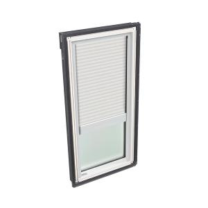 14-1/2 in. x 45-3/4 in. Fixed Deck Mount Skylight with Laminated Low-E3 Glass and White Manual Light Filtering Blind
