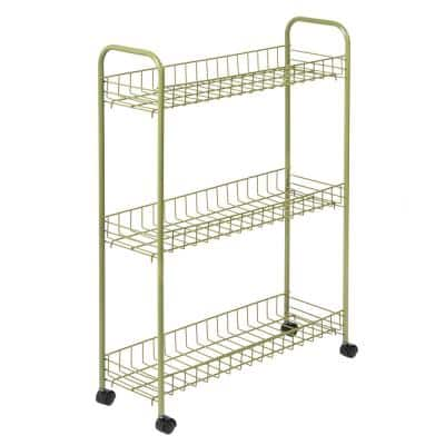 3-Tier Steel Wheeled Utility Cart in Olive