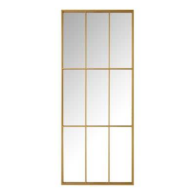 Oversized Gold Metal Frame Windowpane Classic Floor Mirror (70 in. H x 29 in. W)