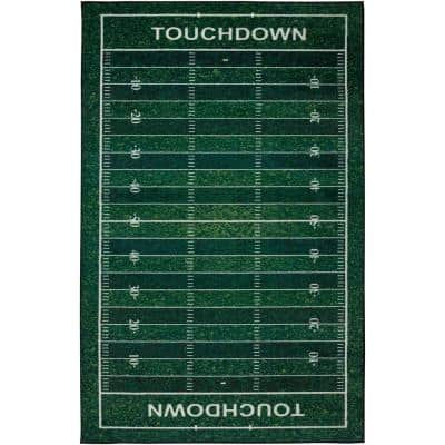 Football Yards Green 10 ft. x 14 ft. Whimsical Area Rug