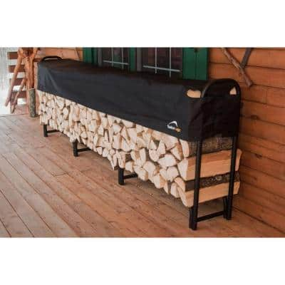 12 ft. D x 3 ft. H x 1 ft. W Firewood Rack with Black Powder-Coated Finish and 2-Way Adjustable Polyester Cover