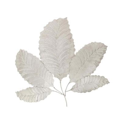 Stainless Steel Silver Fanned Leaves Wall Decor