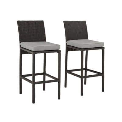 Palm Harbor Wicker Outdoor Bar Stool Set Of 2 With Gray Cushion