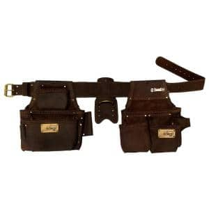 Pro 4-Piece Oil-Tanned Leather Construction Rig - Contractor Work Belt