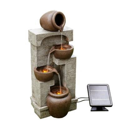 Solar Powered Tiered Wall Fountain with Bowls and Pots
