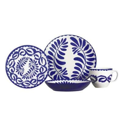 Vera 16-Piece Blue Ceramic Stoneware Dinnerware Set (Service for 4)