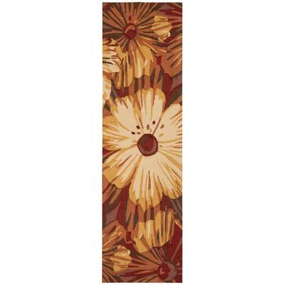 Fantasy Cayenne 2 ft. x 8 ft. Floral Farmhouse Runner Rug
