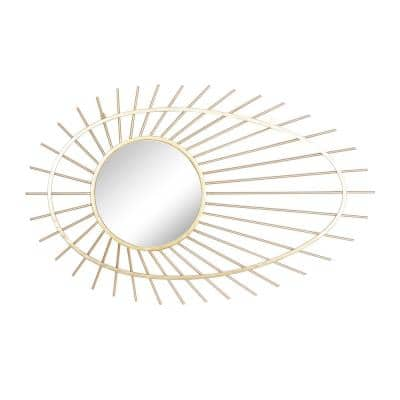 34 in. x 22 in. Gold Metal Contemporary Wall Mirror