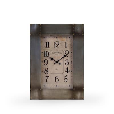 Caress Rectangular Clock in Rustic Aluminum Box Frame