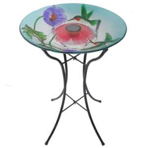 18 in. Glass Hummingbird Outdoor Fusion Solar Birdbath