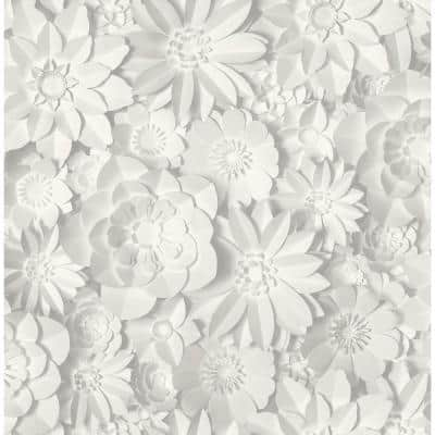 Dacre White Floral Paper Peelable Roll (Covers 56.4 sq. ft.)