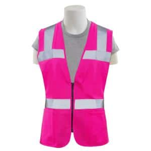 S721 M Non-ANSI Women's Fitted Poly Tricot Hi Viz Pink Vest