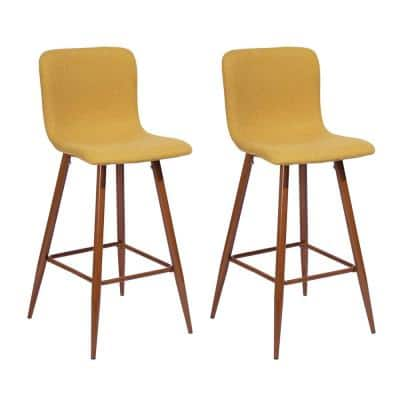 Yellow Bar Chairs Barstools Fabric Seat (Set of 2)