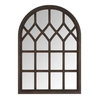 Medium Arched Dark Stained Wood Windowpane Antiqued Classic Accent Mirror (26 in. H x 36 in. W)