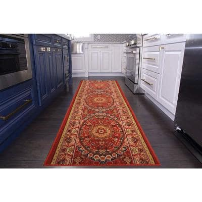 """Medallion Oriental Cut to Size Red Color 36"""" Width x Your Choice Length Custom Size Slip Resistant Rubber Runner Rug"""