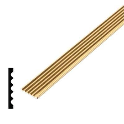1/8 in. x 3/4 in. x 96 in. Metal Mira Gold Grooved Flat Bar Moulding