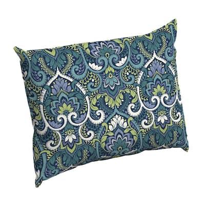 Sapphire Aurora Damask Rectangle Outdoor Throw Pillow