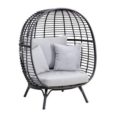 Clark Black Stationary Wicker Outdoor Cuddle Egg Lounge Chair with Sunbrella Gray Cushions