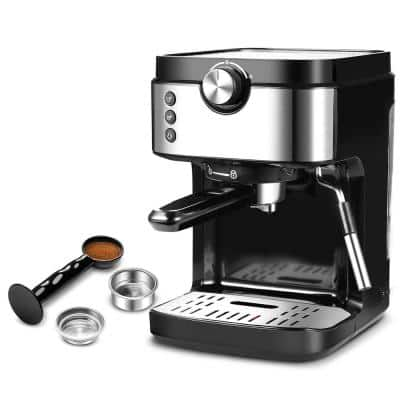 2-Cup Silver Stainless Steel Espresso Coffee Machine with Porta-filter and Measure scoop