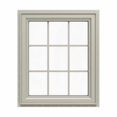 35.5 in. x 35.5 in. V-4500 Series Desert Sand Vinyl Left-Handed Casement Window with Colonial Grids/Grilles