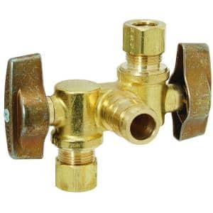1/2 in. Nom PEX Barb Inlet x 3/8 in. O.D. Comp x 3/8 in. O.D. Comp Dual Outlet Dual Shut-Off 1/4-Turn Angle Ball Valve