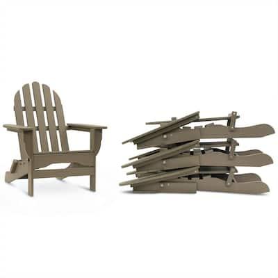 Icon Weathered Wood 4-Piece Plastic Adirondack Chair Patio Seating Set
