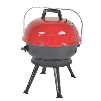 14 in. Portable Charcoal Grill in Red