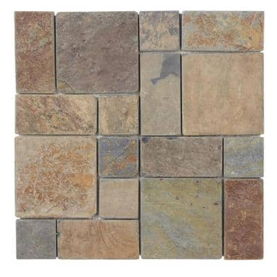 Rust Block Medley 11.75 in. x 11.75 in. Slate Wall and Floor Mosaic Tile (0.938 sq. ft./Each)