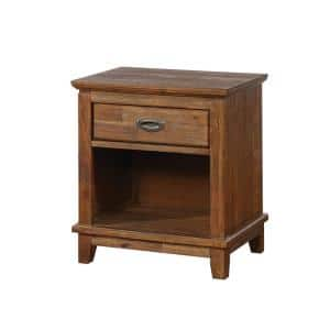1-Drawer Brown Wood Nightstand with Wood Block Feet and Metal Pull 16.25 in. L x 22 in. W x 25.37 in. H