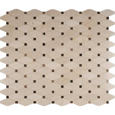 Tile Sample - Valencia Blend Elongated 6 in. x 6 in. x 10 mm Polished Marble Mesh-Mounted Mosaic Tile - 6 in. x 6 in