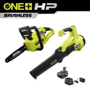 ONE+ HP 18V Brushless 10 in. Cordless Battery Chainsaw and 110 MPH 350 CFM Leaf Blower with 4.0 Ah Battery and Charger