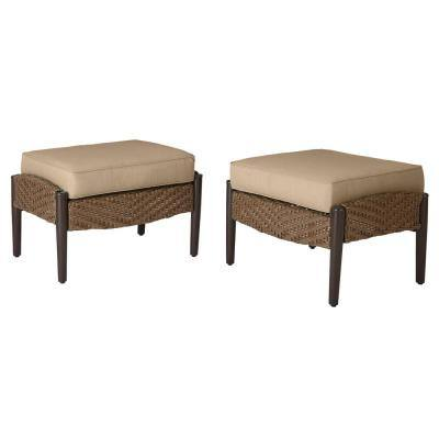 Bolingbrook Wicker Outdoor Patio Ottoman with  Standard Toffee Solid Cushions (2-Pack)