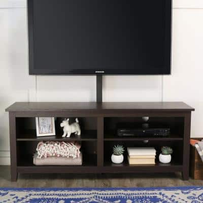 Columbus 58 in. Espresso MDF TV Stand 60 in. with Flat Panel Mount