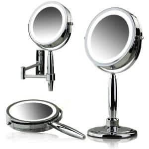 3-in-1 Handheld, Tabletop or Wall Mount Polished Chrome Vanity Mirror (1.3 in. W x 14 in. H), 1x 8x Magnification