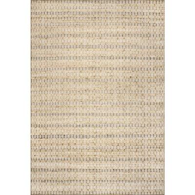 Delaney Hand Woven Striped Natural 6 ft. x 9 ft. Jute Indoor Area Rug