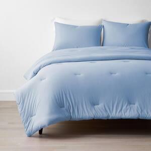 Company Cotton 3-Piece Cloud Blue Cotton Jersey Knit Queen Comforter Set