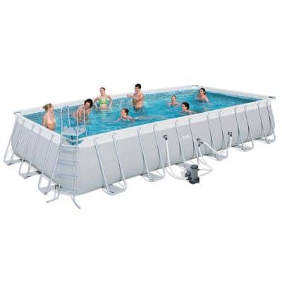 24 ft. x 12 ft. x 52 in. Deep Rectangular Steel Metal Frame Above Ground Soft-Sided Swimming Pool
