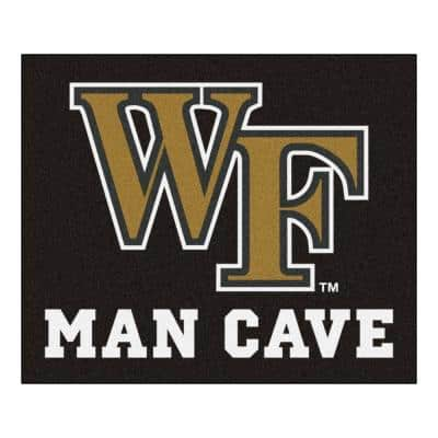NCAA Wake Forest University Black Man Cave 5 ft. x 6 ft. Area Rug