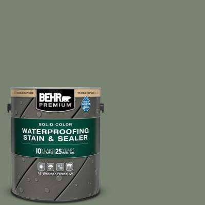 1 gal. #ICC-77 Sage Green Solid Color Waterproofing Exterior Wood Stain and Sealer