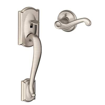 Camelot Satin Nickel Entry Door Handle with Left Handed Flair Door Lever